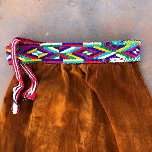 Vintage Reversible Colorful Woven Tie Belt